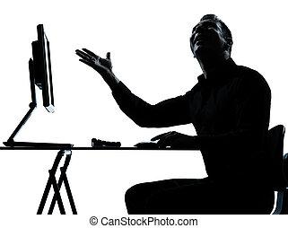 eins, geschäftsmann silhouette, edv, rechnen, glücklich