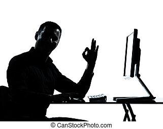 eins, geschäftsmann silhouette, edv, rechnen, ok, gebärde