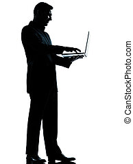 eins, geschäftsmann silhouette, rechnen, edv, laptop