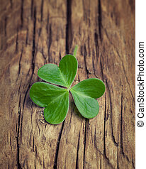 eins, glücklich, irisch, kleeblatt, auf, a, weinlese, holz, hintergrund