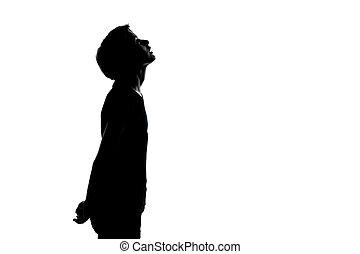 eins, junger, teenager, junge, oder, m�dchen, oben schauen, silhouette