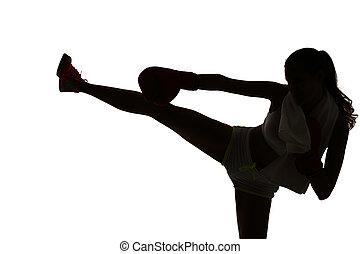 eins, kaukasier, frau, boxen, trainieren, in, silhouette, studio, freigestellt