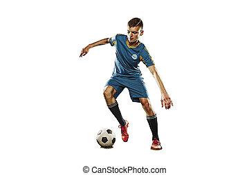 eins, kaukasier, fußballspieler, mann, freigestellt, weiß, hintergrund