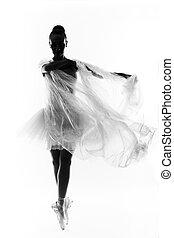 eins, kaukasier, junge frau, ballerina, ballettänzer, tanzen, mit, tutu, in, silhouette, studio, weiß, hintergrund