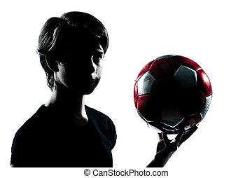 eins, kaukasier, junger, teenager, silhouette, junge, m�dchen, besitz, ausstellung, fußballfootball, porträt, in, studio, ausschneiden, freigestellt, weiß, hintergrund