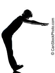 eins, kaukasier, junger, teenager, silhouette, junge, oder, m�dchen, stehende , ausgleichen, auf, fersen, volle länge, in, studio, ausschneiden, freigestellt, weiß, hintergrund