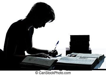 eins, kaukasier, junger, teenager, silhouette, junge, oder, m�dchen, studieren, lesende , buecher, in, studio, ausschneiden, freigestellt, weiß, hintergrund