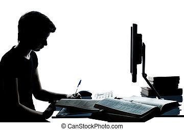eins, kaukasier, junger, teenager, silhouette, junge, oder, m�dchen, studieren, mit, edv, rechnen, laptop, in, studio, ausschneiden, freigestellt, weiß, hintergrund