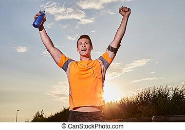 eins, kaukasier, mann, junger, sprinter, läufer, rennender , gewinner, an, zielband