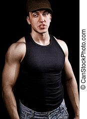 eins, macho, zäh, muskulös, mann