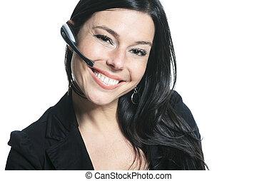 eins, schöne , lächeln, kaukasier, unternehmerin, porträt, in, studi