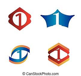eins, zählen 1, schablone, logo, ikone