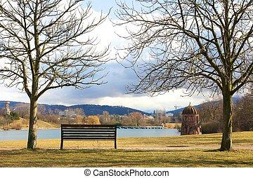 einsam, bank, zwischen, textilfreie , bäume, auf, front, von, a, see, in, freiburg, deutschland