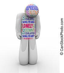 einsam, deprimiert, einsamkeit, person, traurige