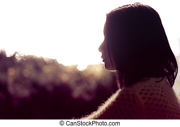 einsam, frau, silhouette