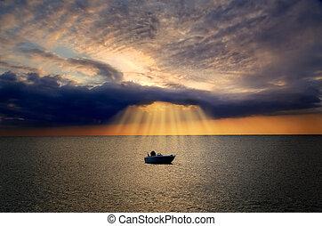 einsam, licht, lit, wolke, göttlich, boot