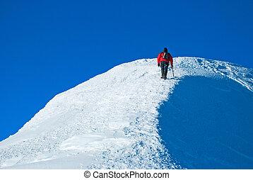 einsam, mann, berg climber, auf, gipfel