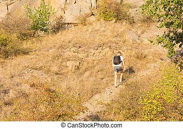 einsam, pfad, mann wandern, berg