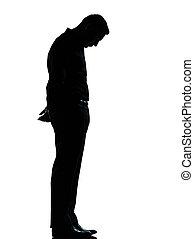 einsam, silhouette, geschaeftswelt, eins, traurige , mann