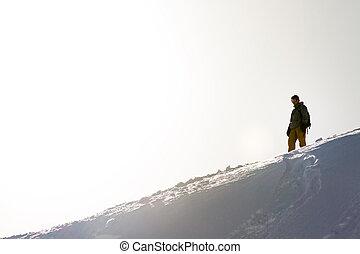 einsam, snowboarder