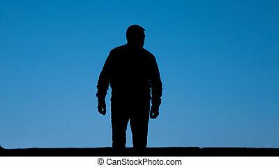 einsam, traurige , freedom., sky., front, stehen, silhouette, verzweiflung, blaues, freigestellt, rgeöffnete, mann, straße