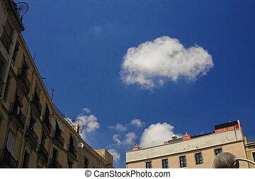 einsam, wolke, in, himmelsgewölbe, von, barcelona