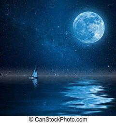 einsam, yacht, in, wasserlandschaft, mit, mond sterne