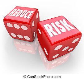 einschränken, risiko, wörter, rotes , spielwürfel, senken,...