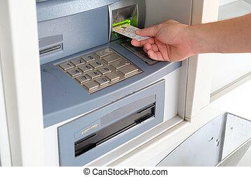 einsetzen, geldautomat, hand, kreditkarte, mann