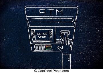 einsetzen, hand, maschine, kredit, kassierer, automatisch, karte