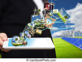 einsparung, bach, tablette pc, energie, zelle, feld, sonnenkollektoren, bilder, turbine, wind