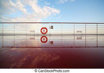 einsparung, boje, in, deck, von, segeltörn, ship., deck, blank, per, morgen, sun., reflexion, in, deck