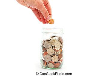 einsparung, krug, geld, pfennig, hand, setzen, muenze