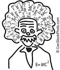einstein head with his theory as hair