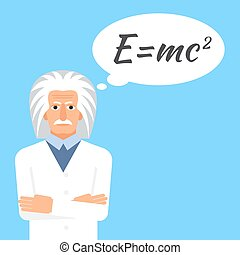 Einstein is stands keeping the formula in his head. Colorful...