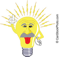 Einstein Light Bulb - Albert Einstein as a light bulb giving...