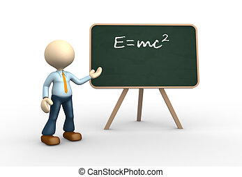 3d people - man, person and blackboard with written einstein's theory.