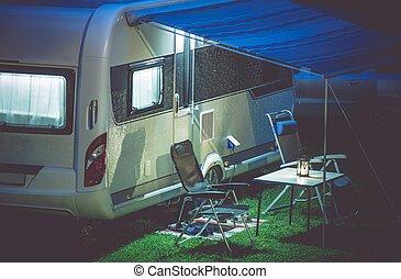 einstellung, anhänger, reise, camping