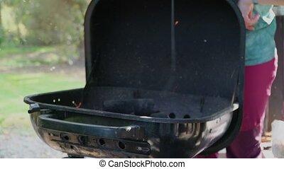einstellung, grillfest, fächer, steinkohle, feuer,...