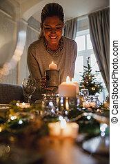 einstellung tabelle, für, weihnachtsabendessen