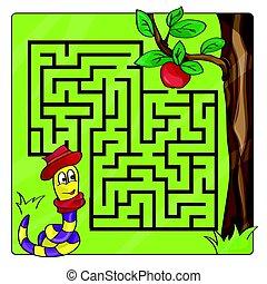eintrag, hilfe, -, ausgang, kids., labyrinth, apfel, kriechen, wurm, labyrinth
