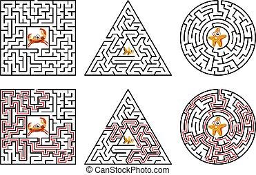 eintrag, logisch, illustration., vektor, hintergrund., solution., schwarz, spiel, maze., weiße linien, exit., kinder, labyrinth, quadrat