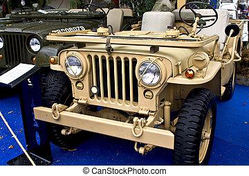 eintreibbar, altes , ww2, jeep, fahrzeug