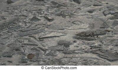 eis, gefrorenes wasser, pfütze, rissig, winter- natur