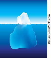 eisberg, oben, und, unterhalb, der, wasser