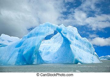 eisberg, schwimmend, in, der, water.