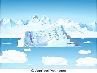 eisberg, und, gletscher