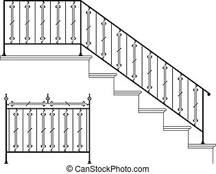 eisen, design, wrought, treppe geländer