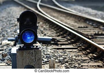 eisenbahn, punkt, lampe, signal