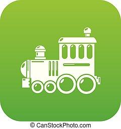 eisenbahn, vektor, grün, ikone